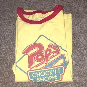 red and yellow Riverdale shirt